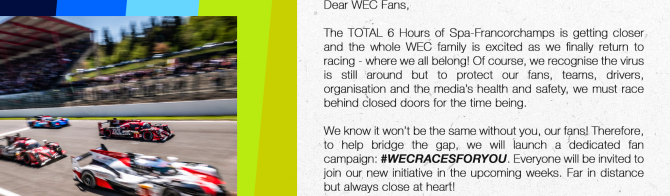 #WECRACESFORYOU: WEC reveals a new special fan-based campaign!