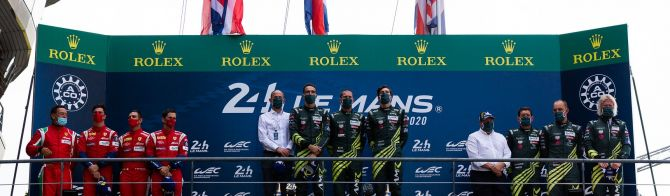 Aston Martin Racing celebrate victory in LMGTE Pro and Am at Le Mans